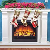"""Dreampark Christmas Stockings, 3 Pack Classic Plaid Xmas Stocking 18"""" Big Size - Santa Snowman Reindeer Character Christmas Decorations"""