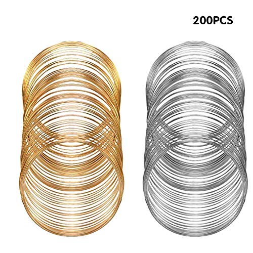200Pcs Jewelry Beading Wire for Bracelet DIY Jewelry Making,Jewelry Craft Wire Memory Wire Cuff for Jewelry DIY Silver Gold(0.6 mm Thickness,6 cm in Diameter) (Best Memory Wire For Bracelets)