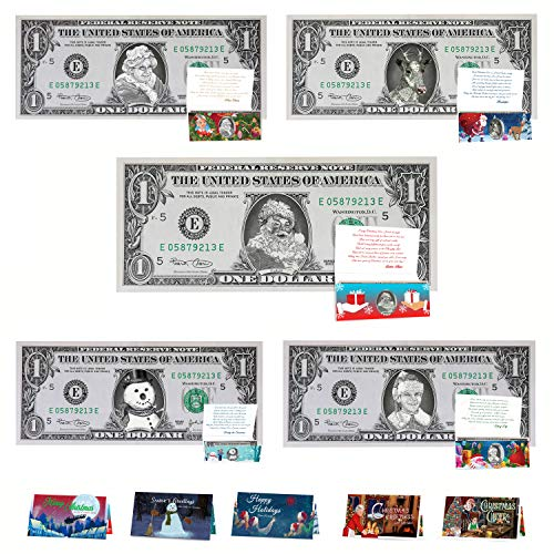 Official Santa/Christmas Dollar Bill Variety Pack. 5 Different Christmas Dollars and Cards. Perfect Christmas Stocking Stuffer (Christmas Bill Dollar)