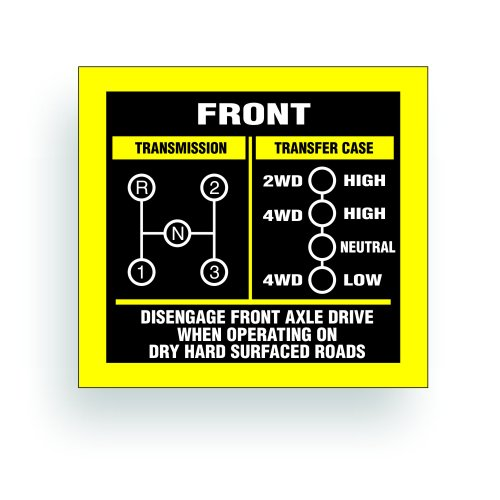 Transmission Shift Pattern Decal - Compatible with Jeep, Kaiser Willys MB, GPW, M38, M151, WW2, May Fit Transmission Transfer Case T90, T86, T14A, Spicer 18, 3 Speed, Single Stick 3x2.75 inch