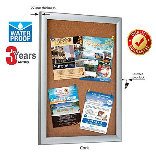 Cork Enclosed Bulletin Board with Locking Door Display for Outdoor Use (4 x 8.5x11) ()