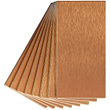 Aspect Peel and Stick Backsplash 3in x 6in Brushed Copper Long Grain Metal Tile for Kitchen and Bathrooms (8-pack)