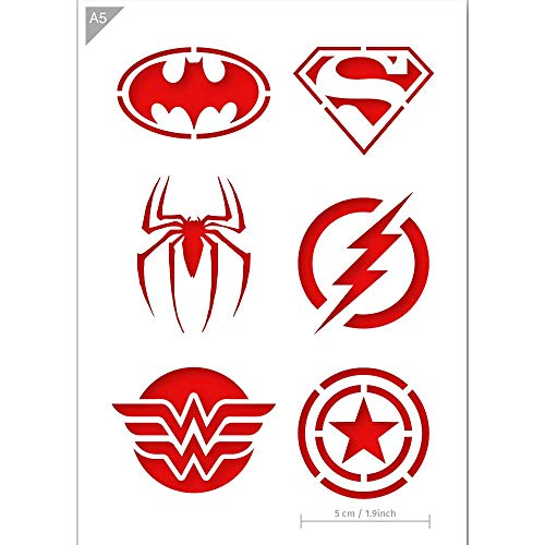 Super Hero Emblem Logos Stencil - Card or Plastic - A5 5.8 x 8.3 inch – Icon diameter 1.9 inch - Reusable, kids friendly stencil - Painting, crafts, cakes, wall and furniture stencil (Plastic) -