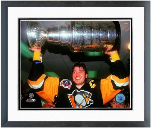 "Mario Lemieux Pittsburgh Penguins Stanley Cup Photo 12.5"" x 15.5"" Framed"