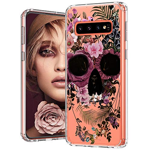 (MOSNOVO Galaxy S10 Plus Case, Floral Skull Flower Clear Design Printed Transparent Hard Back case with TPU Bumper Protective Case Cover for Samsung Galaxy S10 Plus)