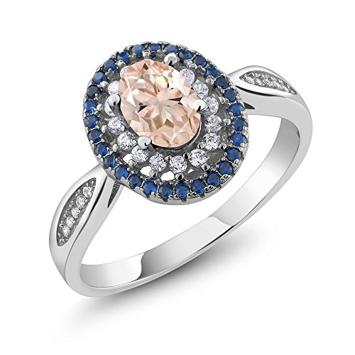 - Gem Stone King 925 Sterling Silver Peach Morganite Women's Engagement Ring 1.25 Ct Oval (Size 6)