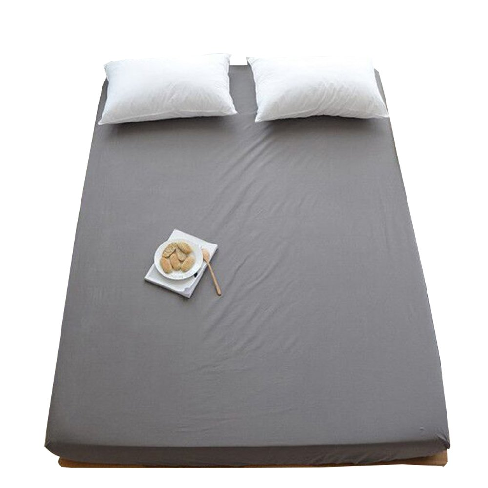 LifeTB Solid Grey Cotton Bedding Fitted Sheet Queen Size Bedding Sheet Hotel Quality Deep Pocket Fitted Sheet Full Queen Bed Sheet Wrinkle Fade Stain Resistant by LifeTB