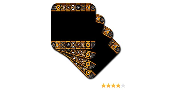 3dRose Brown and Black African Pattern CST/_76556/_2 Soft Coasters Set of 8 Art of Africa Inspired by Zulu Beadwork Geometric Designs