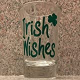 Irish Wishes, Set of 4 Shot Glasses. Leprechauns Will Love These. Green for St Patrick's Day and a Shamrock for Good Luck. Party Shot Glasses, Set of 4. In Gift Box.