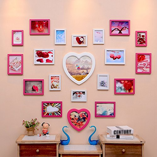 Photo Wall, Creative Living Room Wedding Photo Wall, Love-shaped Children Bedroom Photo Frame Wall Frame Wall Combination ( Color : 3# ) by PM PhotoShop Wall