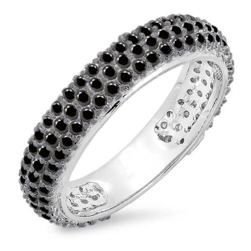 (Dazzlingrock Collection 1.30 Carat (ctw) 14K Round Black Diamond Ladies Pave Set Wedding Eternity Ring Band 1 1/3 CT, White Gold)