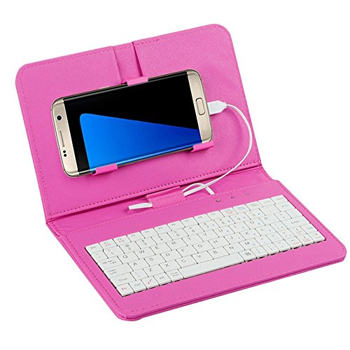 Efanr Wired Keyboard Flip Holster Case Cover For 4.2''-6.8'' Micro USB Android Mobile Cell Phones With OTG, for Samsung Galaxy Note 6 Note 5 Note 4 Note 2 S7 S6 Edge S4 S3 HTC M9 M8 M7 (Rose) by Efanr