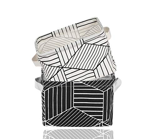 2 Pack Small Foldable Storage Basket Canvas Fabric Waterproof Organizer Collapsible and Convenient for Nursery Babies Room 100% Cotton with Handle (White+Black) by USATDD