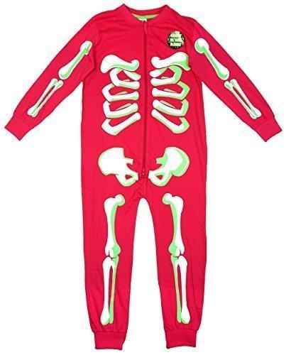 Niña Huesos De Esqueleto brilla en la oscuridad Cremallera pijama de bebé Mono Rosa tallas desde