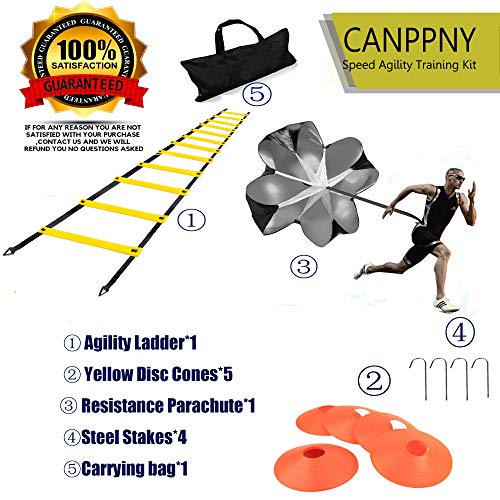 CANPPNY Speed Agility Training Kit-Includes Agility Ladder with Carrying Bag, 5 Disc Cones, Resistance Parachute, 4 Steel Stakes.Use Equipment to Improve Footwork Any Sport.