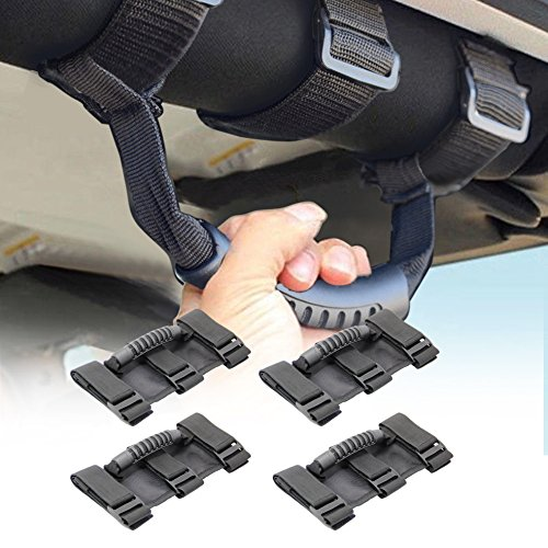 AURELIO TECH Jeep Grab Handles,Topist Heavy Duty Ultimate Roll Bar Grab Handles Set, Jeep Wrangler Grab Bar, Easy-to-fit for Off Road Enthusiasts, Pack of 4