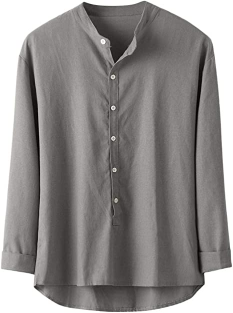Wodechenshan Camisas Casual para Hombre,Moda Hombres Camiseta Camisa Casual Botón Gris De Lino Y Algodón Camiseta Manga Larga Blusa Superior Hombres Camiseta Hombre De Negocios: Amazon.es: Deportes y aire libre