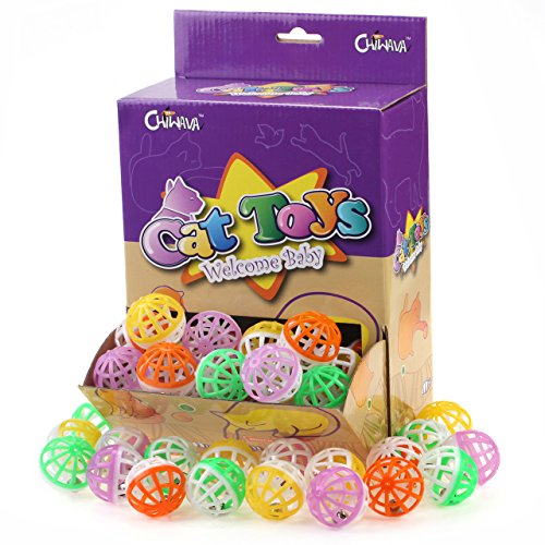 - Chiwava 48PCS 1.6'' Cat Toy Ball with Bell Plastic Lattice Jingle Balls Kitten Chase Pounce Rattle Toy Assorted Color