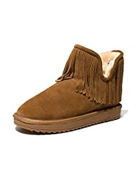 Lady autumn and winter snow boots leather warm tassel cowhide short boots flat cotton shose ( Color : Brown , Size : US:7\UK:6\EUR:39 )