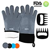 Silicone BBQ Oven Gloves & Meat Claws - Quilted Cotton Lining Non-Slip Waterproof Heat Resistant with Extended Protection & Ultra-Sharp Blades for Cooking, Baking, Grilling (Grey)