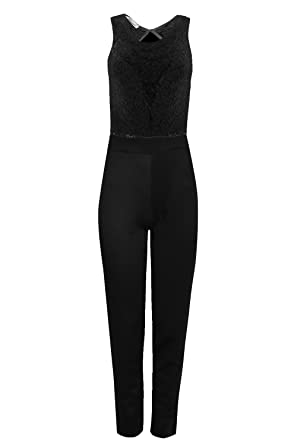 daf56d766f Amazon.com  Be Jealous Womens Ladies Contrast Floral Lace Boobtube  Sleeveless Back Keyhole Maxi Jumpsuit  Clothing