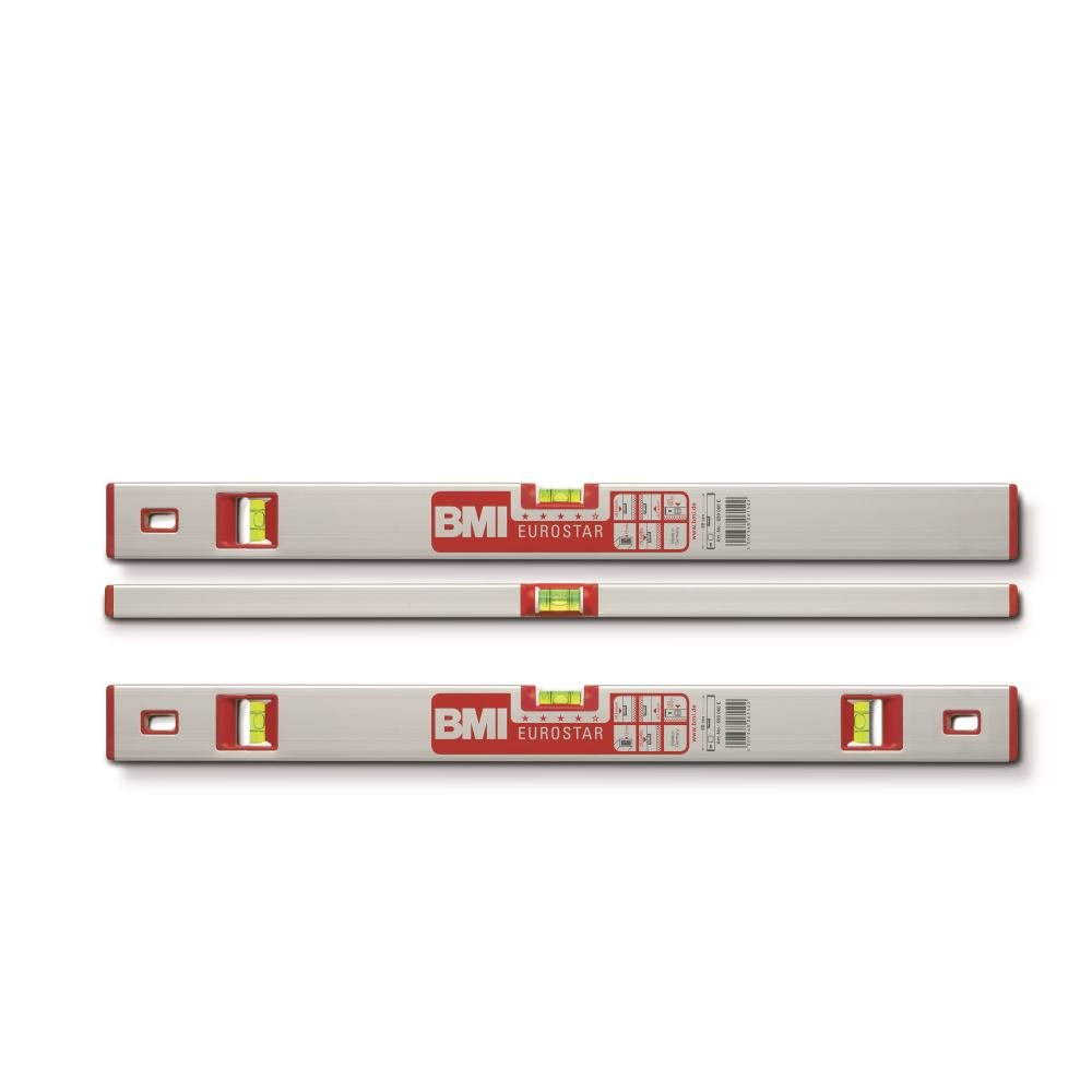 BMI 690060ES Alu-Spirit Level Eurostar 60 cm with 2 Vertical Vials, Silver/Red