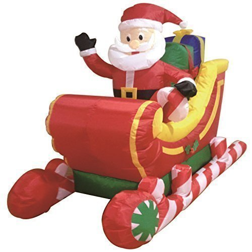 1.8m Santa Claus On Sleigh Sledge Self Inflating Inflatable Electric Blow Up Giant Large Outdoor Garden Christmas Xmas Figure Statue