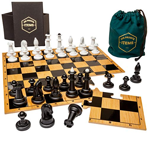 et – Unique and Engaging 9-Piece Puzzle Board Chess Set – Wooden Chess Board with Plastic Game Pieces – Includes Collector's Box and Cloth Travel Bag ()