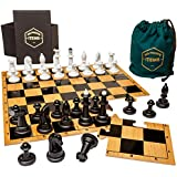 His Private Items Puzzle Piece Chess Set – Unique and Engaging 9-Piece Puzzle Board Chess Set – Wooden Chess Board with Plastic Game Pieces – Includes Collector's Box and Cloth Travel Bag