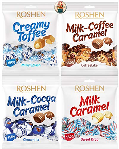 (Roshen Toffee Candy Caramel Candy Soft Caramels Individually Wrapped Russian Candy Assortment: Milky Splash Soft Candy, Milk Coffee Caramel, Chocolate Covered Caramels Bundle with Ukraine Doll Magnet)