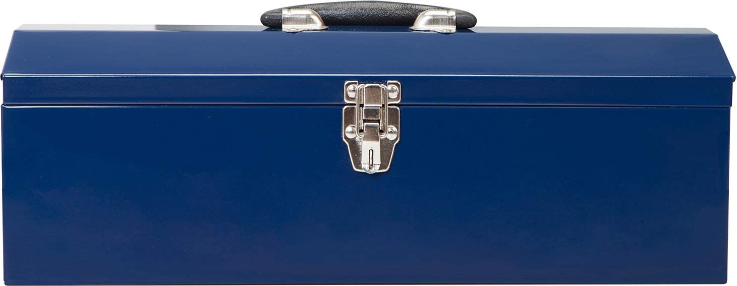 Blue TCE ATB101U Torin 19 Hip Roof Style Portable Steel Tool Box with Metal Latch Closure and Removable Storage Tray