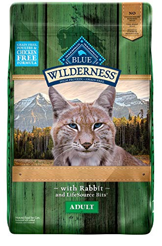 Blue Buffalo Wilderness Rocky Mountain Recipe High Protein Grain Free, Natural Adult Dry Cat Food, Rabbit 10-lb (Grain Free Cat Food Rabbit)