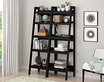 Amazon Com Ladder Shelf Bookcase Set Of 2 Color Black With 4