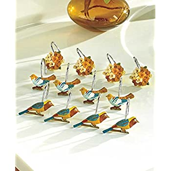 Set of 12 Antique Aviary Shower Curtain Hooks