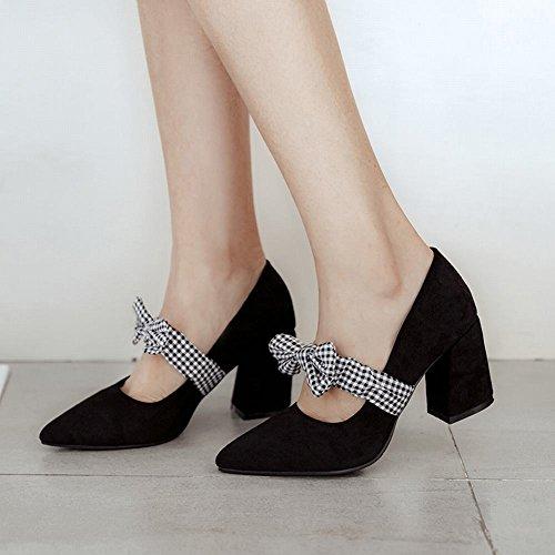 Carolbar Womens Plaid Bowknots Bungee Elegance Pointed Toe Mary Janes Shoes Black LfFvCsG8