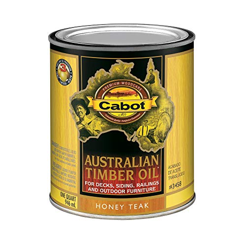 (Cabot Stains 3458 Australian Timber Oil for Decks & Outdoor Furniture, 1 Quart, Teak)