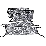 Crib Bumpers for Cribs with Attached Changing Table Bacati - Classic Damask White/black Bumper Pad