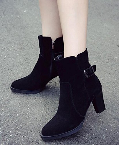 IDIFU Womens Elegant Buckle Mid Chunky Heels Faux Suede Ankle Boots Riding Booties With Side Zipper Black AnMdNepu