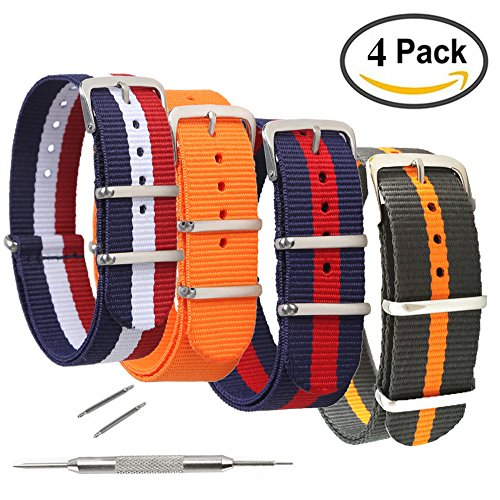 4 Pack Nato Watch Bands,STYLELOVER Ballistic Nylon Watch Straps - Choices of Colors & Widths 16mm 18mm 20mm 22mm or 24mm (22 Mm Forest Green)