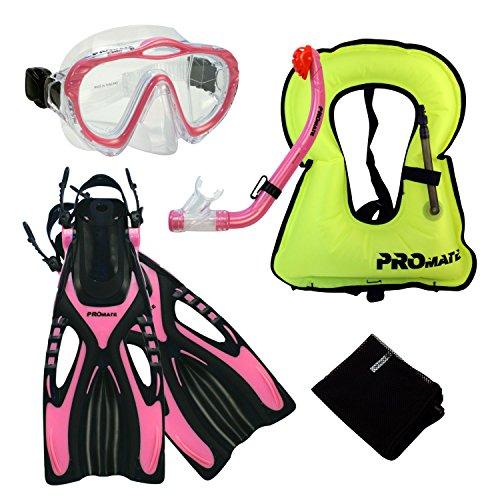 l, Junior Snorkeling Jacket Vest Mask w/PURGE DRY Snorkel Fins Set for kids (Junior Snorkeling Vest)