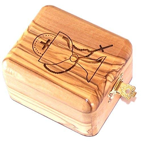 Bethlehem Gifts TM Handcrafted from Bethlehem Olive Wood Holy Communion Souvenir (Jewelry Box)