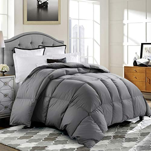 ROSECOSE Luxurious Medium Weight Goose Down Comforter King Size Duvet Insert All Seasons Hypo-allergenic 1200 Thread Count 750+ Fill Power 100% Cotton Shell Down Proof with Tabs Gray (King, Gray)