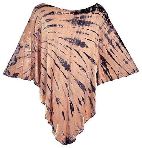 Dyed Batik - Amazing Grace Elephant Co Women's Tie-Dyed Batik Ethnic Chic Stretchy Summer Poncho Kimono Cover Up Trendy Tunic Top (Beige)