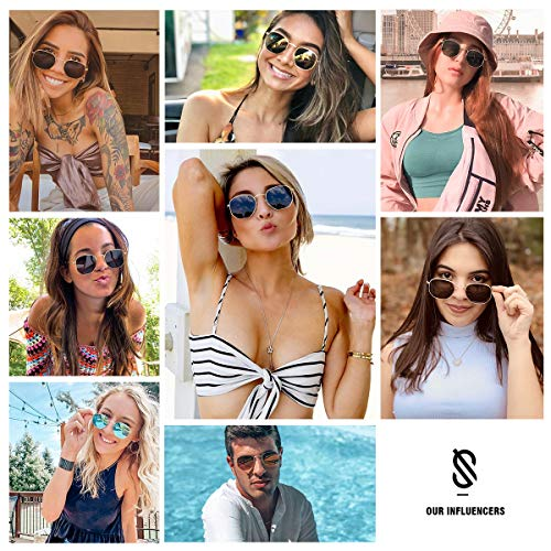 SOJOS Small Square Polarized Sunglasses for Men and Women Polygon Mirrored Lens SJ1072