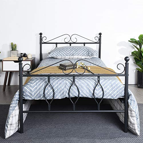 GreenForest Bed Frame Twin with Wooden Slats Support Kids Metal Platform Bed Base with Headboard and Footboard No Box Spring Needed, Black