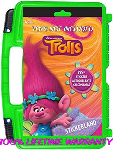[Official DreamWorks Trolls Sticker Book + Mini Figures Compatible Storage Organizer. Stores Up to 100 Trolls Mini Figures. Customize Your Children's Storage Box With This 4 page Sticker] (Free Halloween Word Search)