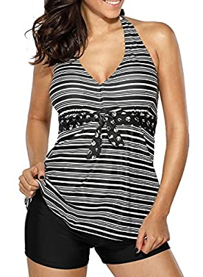 Dearlove Womens Halter V Neck Striped Tankini Swimsuit Set with Boyshort