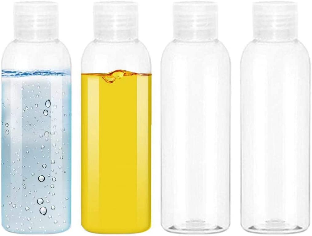 EOPER 4 Pack 100ML Empty Clear Plastic Squeeze Bottles with Disc Top Flip Cap Travel Bottle BPA-Free Containers For Shampoo, Lotions, Liquid Body Soap, Creams