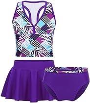 JEATHA Kids Girls 3-Piece Swim Set Camisole Swim Top with Bottom Shorts Sets Tankinis Swimwear Summer Beach Cl