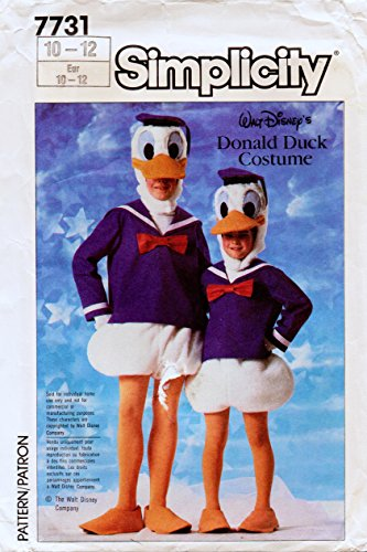 Simplicity 7731 Vintage Sewing Pattern For Donald Duck Costume Child Size 10-12